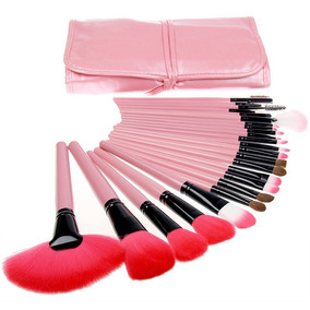 Kit De Pincel Maquiagem Profissional 24 Pcs Com Estojo Nf