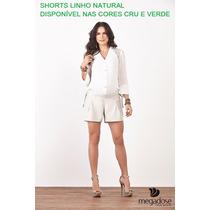 Shorts De Linho Megadose Gestante Grávida Mamma Bambino