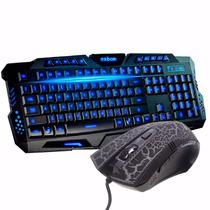 Kit Gamer Led Teclado + Mouse Neon 3200dpi Macro Multimídia