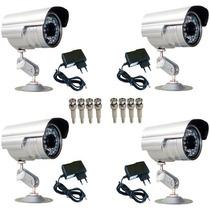 Kit 4 Câmeras Vigilância Infravermelho + Fontes + Conectores