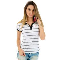 Blusa Polo Feminina Listrada Manga Curta Dianna Cor Branco