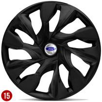 Jogo Calota Aro 15 Ford Focus New Fiesta 13 2014 Preto Fosco
