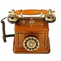 Telefone Retrô Vintage Antigo Fio Classic Royal Madeira