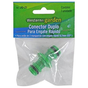 12un Conector Duplo Com Engate Rapido Para 2 Mangueiras ½