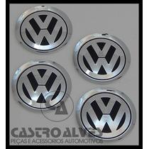 Kit 4 Pçs Emblema Volkswagen Alumínio Jetta Roda Liga 78mm