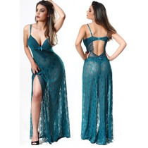 Camisola Longa Com Fio Sexy Detalhe Renda Sensual Lingerie