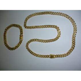 Cordão,pulseira Oco Modelo Grumete Em Ouro 18 K 750