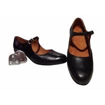 Zapatos Para Tap Zapateo Americano Con Chapas De Cuero Niñas