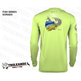 Camisa Para Pesca Marca Mojo Estampado Dorado Proteccion Uv