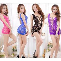 Vestido Mini Arrastão Super Importado Sensual Sexy Lingerie