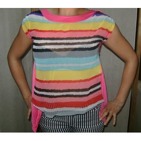 Blusas/ Polo Coloridas Gasa Semi Transparente Y Algodón