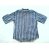 Camisa Americana Náutica Cuello Mao Hawaiana L Large