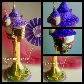 Adorno Torta Torre Rapunzel+ Nombre + Velita *planeta Dulce*