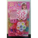 Kit De Maquiagem Infantil Bella Brilho Batom Sombras Esmalte
