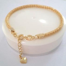 Pulseira Feminina Folheado Ouro Bracelete Dourado