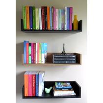 3 Prateleiras Decorativa P/ Livros Mdf Preto 60x20x11,5cm