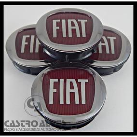 Kit 4 Pçs Calota Tampa P/ Roda Original Liga Leve Fiat Verm