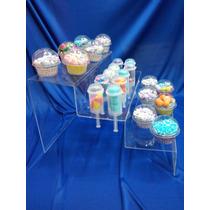Base Escalera En Acrilico,porta Cupcake-conos Mesa De Dulces