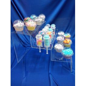 Base Escalera De Acrilico 5mm ,cupcake-conos Mesa De Dulces