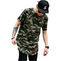 Camiseta Longline Oversized Swag Camuflada Stecchi Promoção