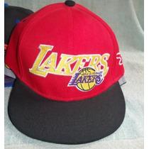 Gorra Visera Plana Bordado Lakers Roja Y Negra Snapback