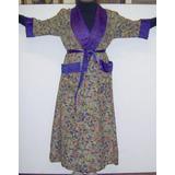 Antiguo Kimono Disfraz Seda Y Raso Vintage C/faja Azabaches