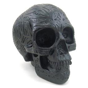 Cranio Caveira Preto Tribal Halloween Decorativo Em Resina
