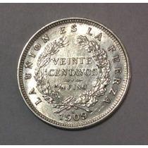 Moneda Bolivia 20 Centavos 1909. H . Excelente . Plata