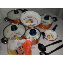 Set De Cocina (ollas) 12 Piezas-ceramica Blanca Antiaderente