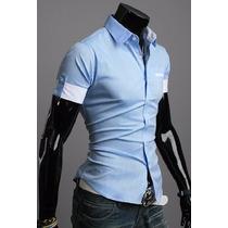 Camisa Masculina Slim Fit Manga Curta Estilosa Luxo Moderna