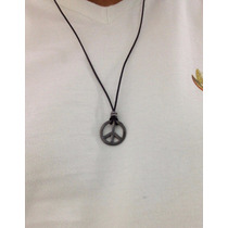 Colar Masculino Couro Pingente Símbolo Da Paz Rock Hippie