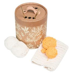 Cilindro Para Hilos Y Agujas De Crochet Tejido Flor Amarillo