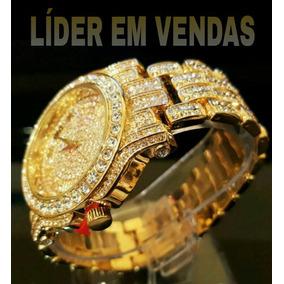Relógio Cravejado Brilhante Foleado Em Ouro Frete Grátis!