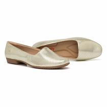 Sapato Piccadilly Dourado Feminino Linha Conforto Sliper