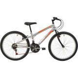 Bicicleta Aro 24 Mtb Polimet V-brake 18v Prata