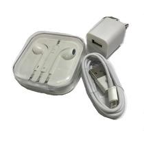 Cargador Cable Lightning Y Audifonos Generico Iphone 5 A42