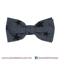 Moño/pajarita/bowtie Denim Estampado Estrellas Azul Marino