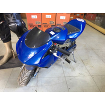 Mini Moto Infantil Azul Á Gasolina