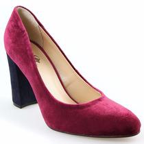 Sapato Feminino Scarpin Bico Redondo Em Veludo Merlot Lindo