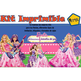 Kit Imprimible Barbie Y La Estrella Del Pop,tarjetas;fiesta
