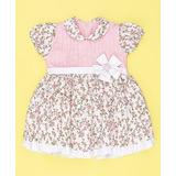 Vestido Manguinha Floral Branco/rosa 02 Anos Pronta Entrega
