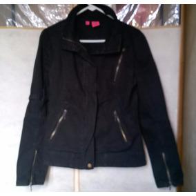 Campera De Jean Color Negra Con Cierres
