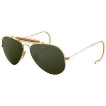 Oculos Modelo Caçador Dourado Lente Verde Com Mola