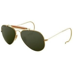 Oculos Caçador Dourado Lente Verde Com Mola