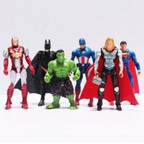 Lote 6 Boneco Vingadores Batman Hulk Thor Super Homem Ferro