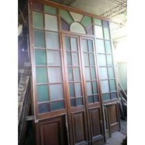Puerta Con Laterales En Cedro Vidrio Repartido De Colores