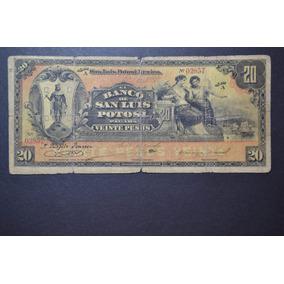 Billete Del Banco De San Luis Potosi De 20 Pesos