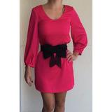 Vestido H&m Fashion Rosa Cinto Laço Original Novo Tam P