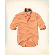 Hollister Camisa De Poplin Color Naranja Talla S Originales
