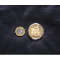 Moeda Coréia Brontossauros 1w Proof Bronze Banho Ouro 2001